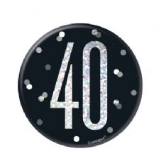 Black Glitz '40' Birthday Badge